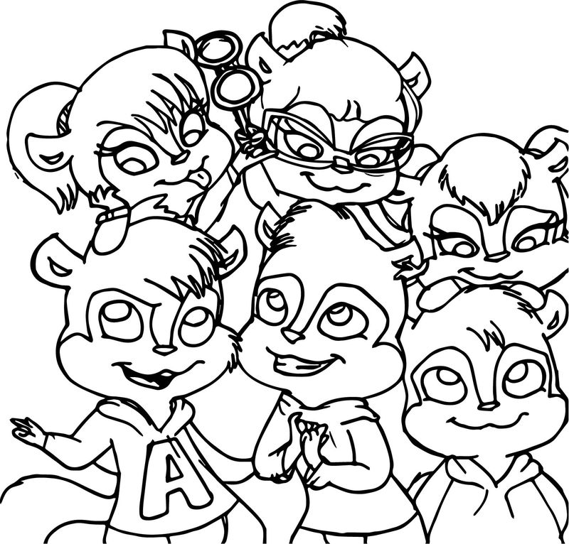 Boys And Girls Alvin And The Chipmunks Coloring Page