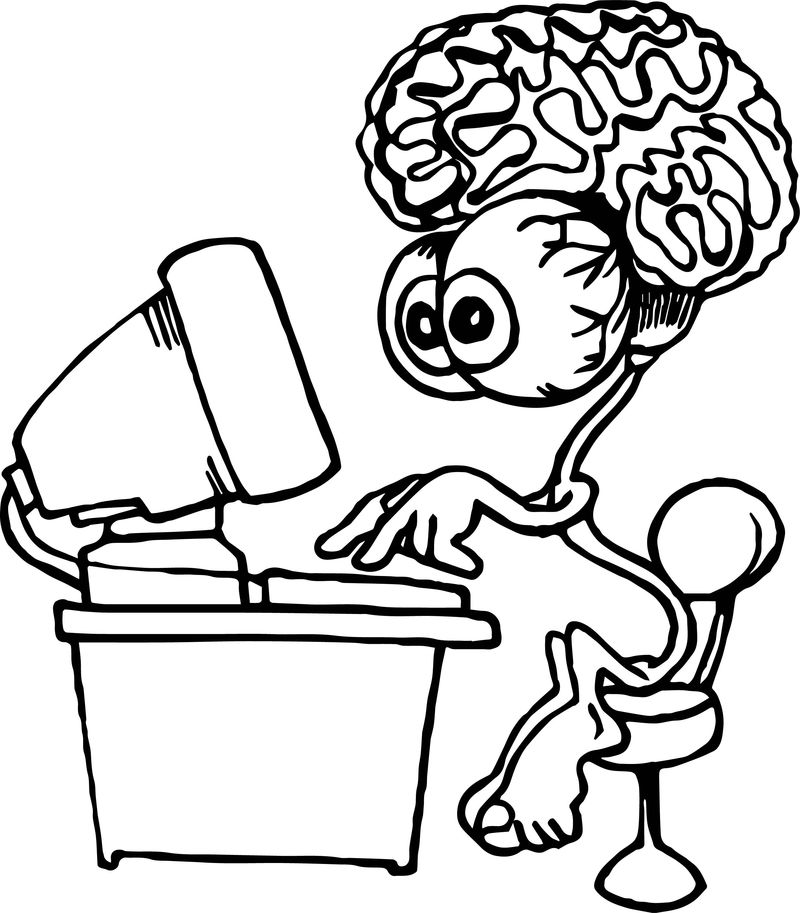 Brain Cartoon Computer Engineer Coloring Page
