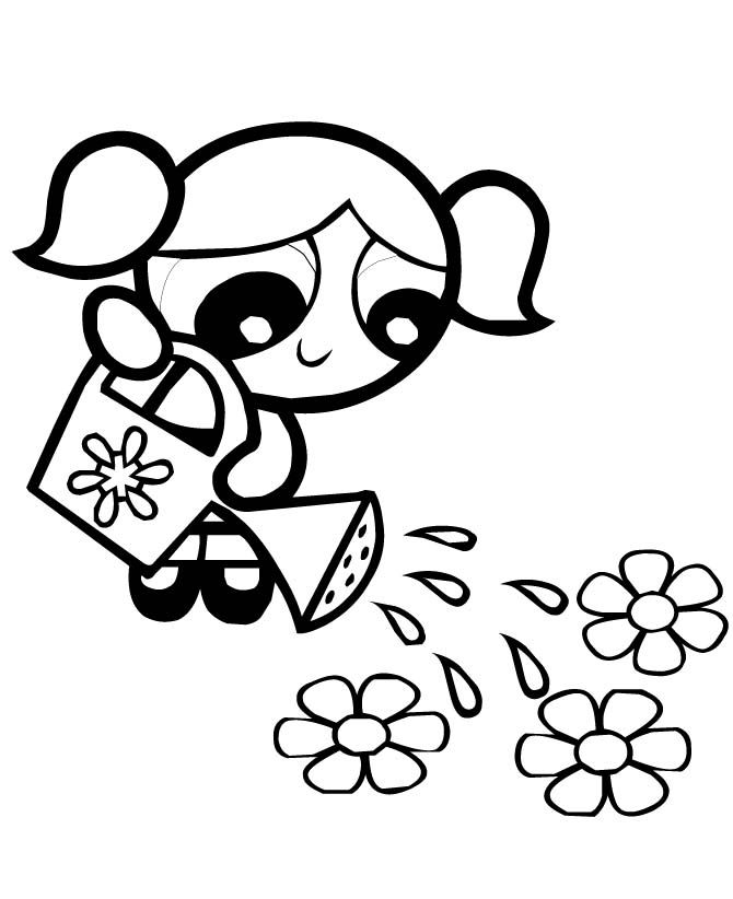 Bubbles Watering Flowers Powerpuff Girls Coloring Pages