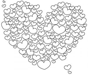 Bubbly heart shape coloring page