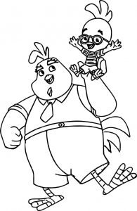 Buck cluck carrying little chick cluck coloring pages