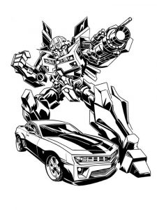 Bumblebee and car transformers coloring pages