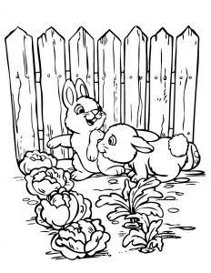 Bunnies in the garden coloring pages 001