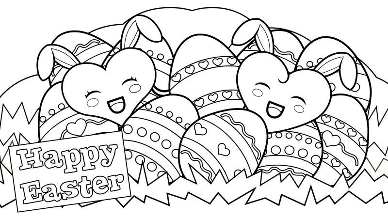 Bunny Hearts Happy Easter Coloring Pages