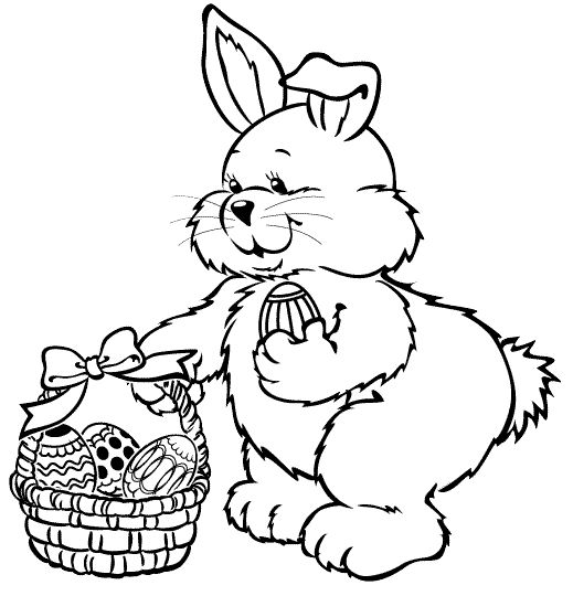 Bunny With Easter Basket Coloring Pages