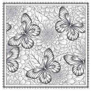 Buttefly garden flowers coloring page