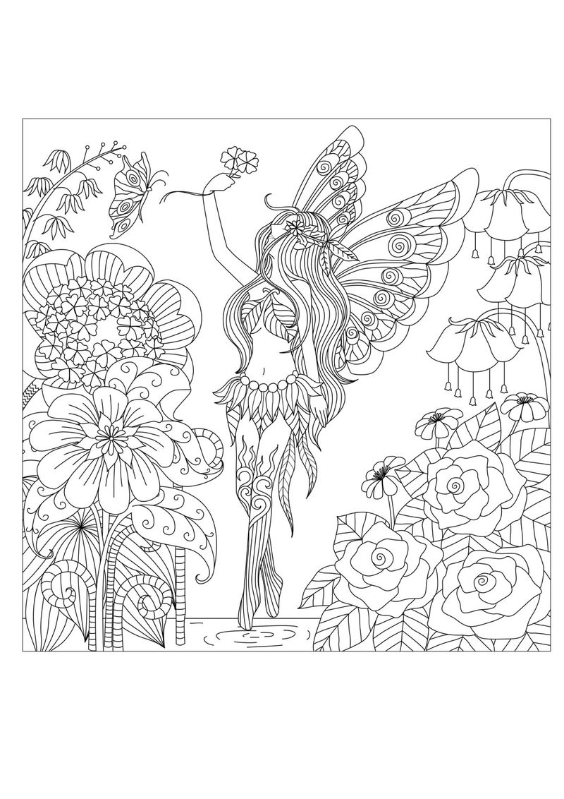 Butterfly Elf Among Flowers Adult Coloring