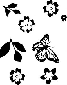 Butterfly leaf flower coloring page