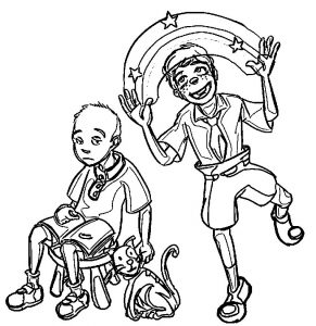 Caillou and spongebob coloring page