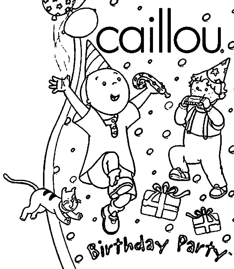 Caillou Birthday Party Caillou Coloring Page