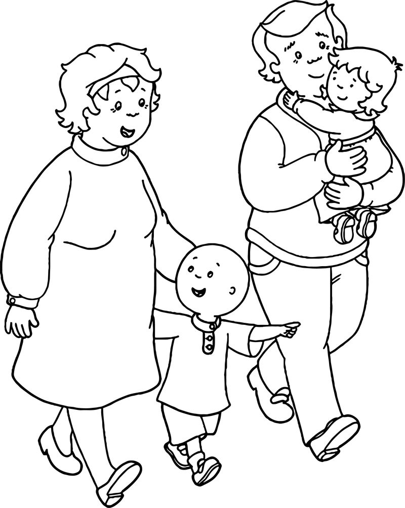 Caillou Family Coloring Page