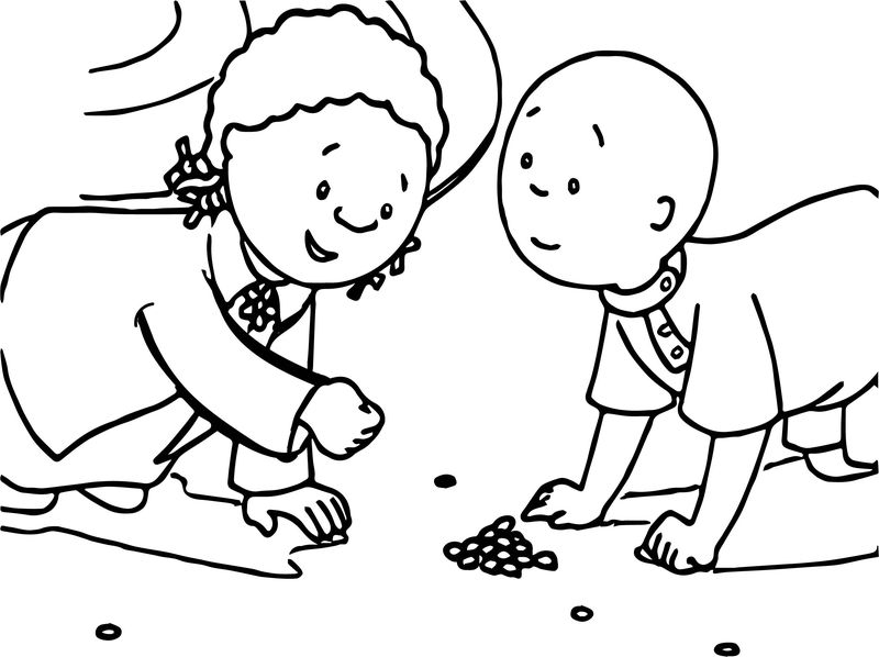 Caillou Playing With Girl Friend Coloring Page