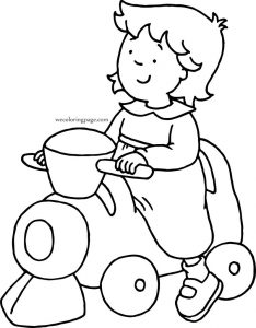 Caillou sister train toy coloring page