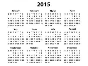 Calendar 2015 only printable yearly blank