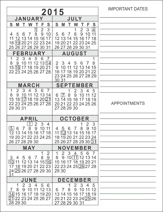 Calendar 2015 Only Printable Yearly Free 001