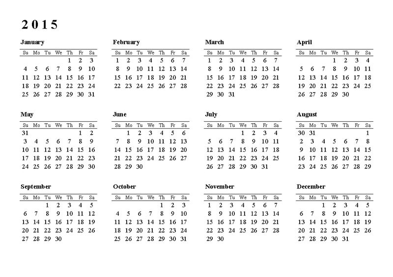 Calendar 2015 Only Printable Yearly Template