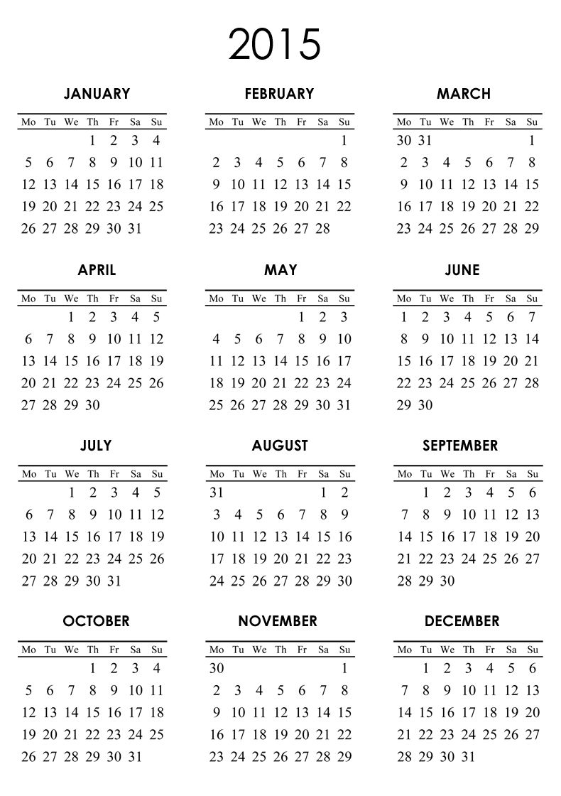 Calendar 2015 Only Printable Yearly White 001