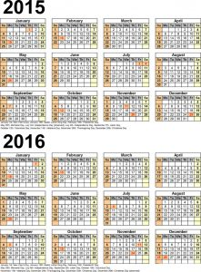Calendar 2016 one page vertical 2015 001