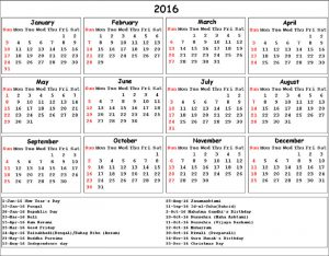 Calendar 2016 printable with holidays india