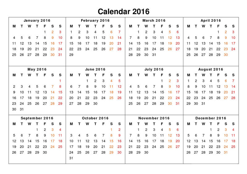 Calendar 2016 White Background