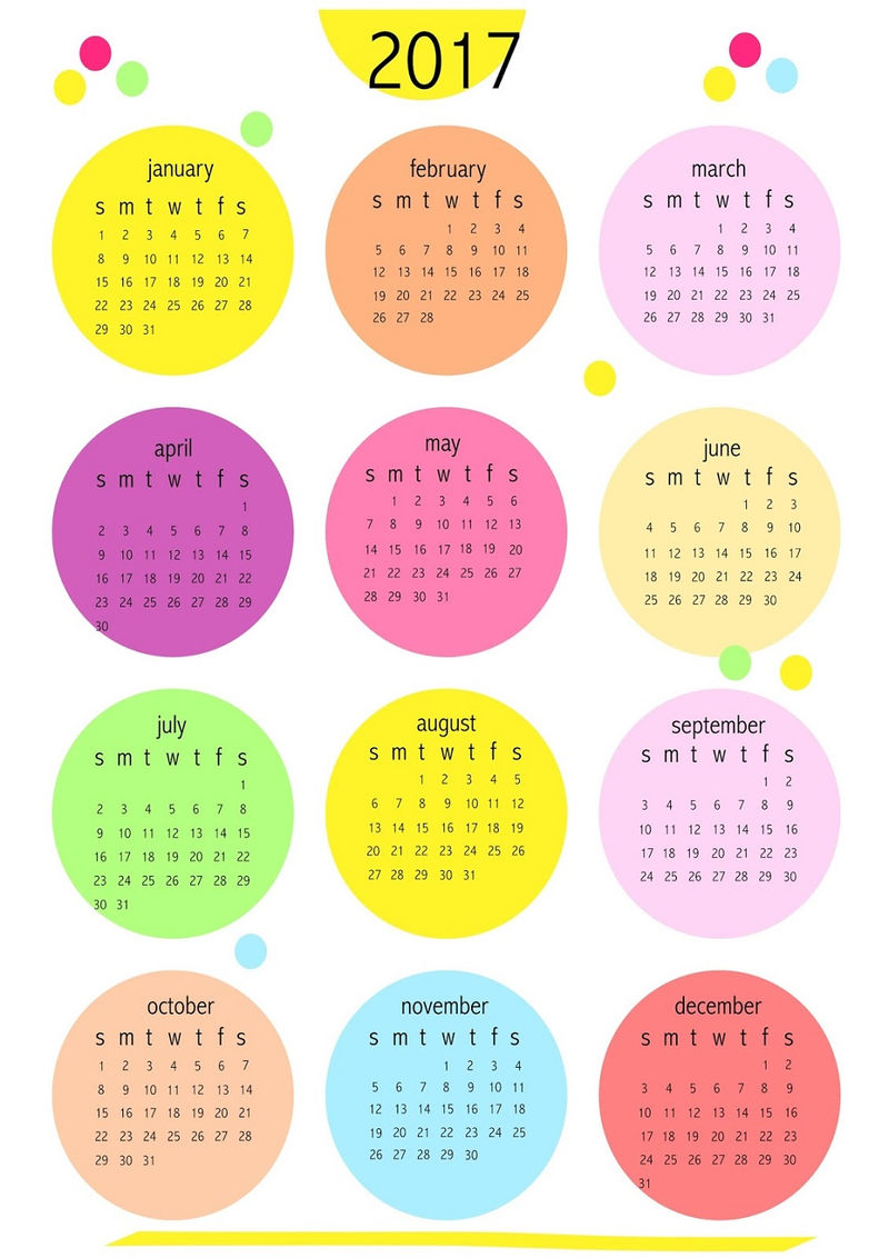 Calendar 2017 For Kids Colorful 001