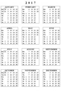 Calendar 2017 only printable one page 001