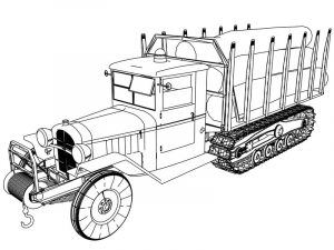 Camion chenille tree carrying old vehicle truck coloring page