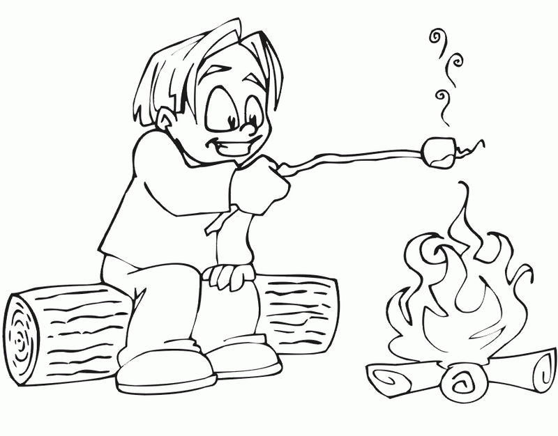 Camp Fire Coloring Pages 001