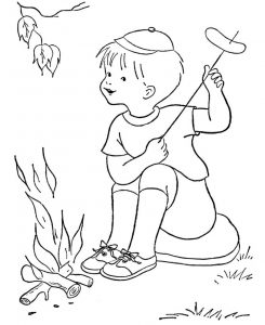 Camp fire hotdog coloring page 001