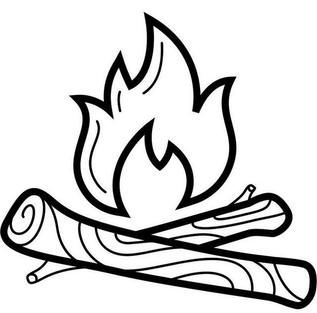 Campfire Clipart Coloring Page