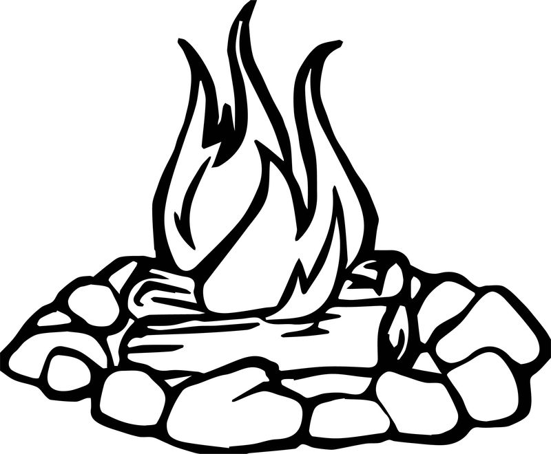 Campfire Stone Camping Coloring Page
