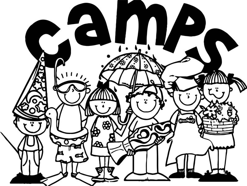Camping All Kids Coloring Page