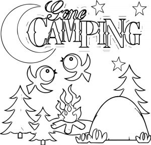 Camping gone bird coloring page