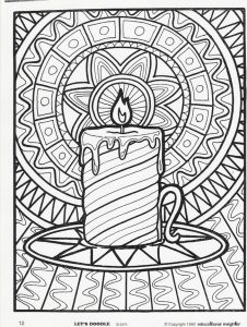Candle scene christmas coloring pages for adults