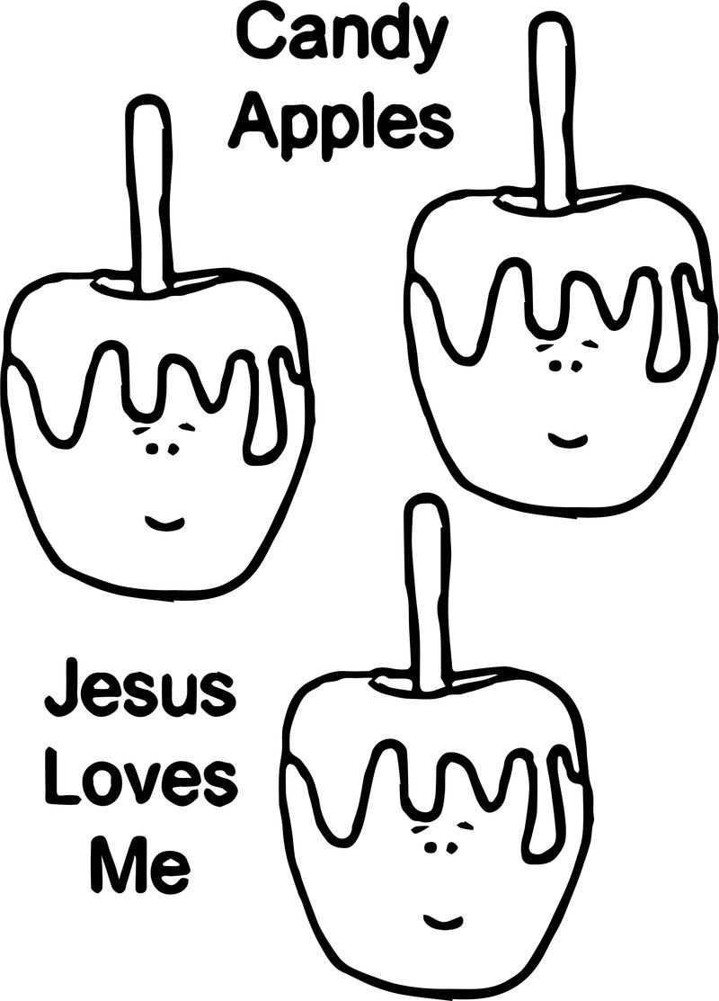 Candy Apples Jesus Loves Me Coloring Page