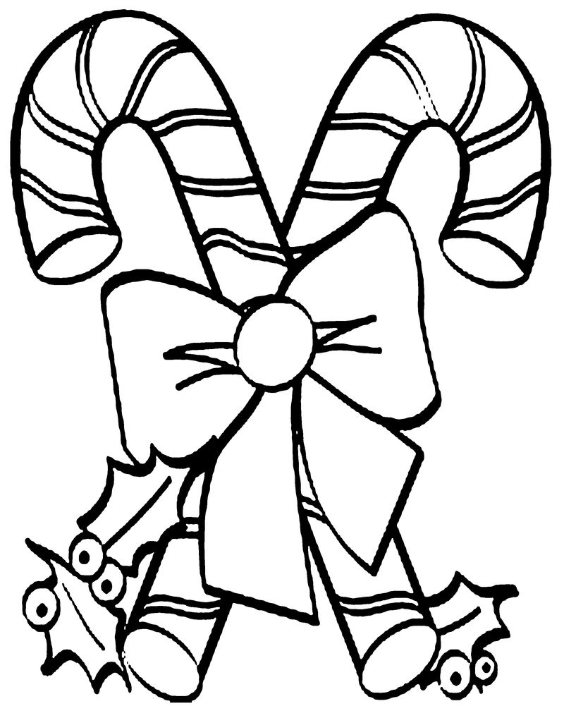 Candy Cane Coloring Page For Preschoolers - Coloring Sheets