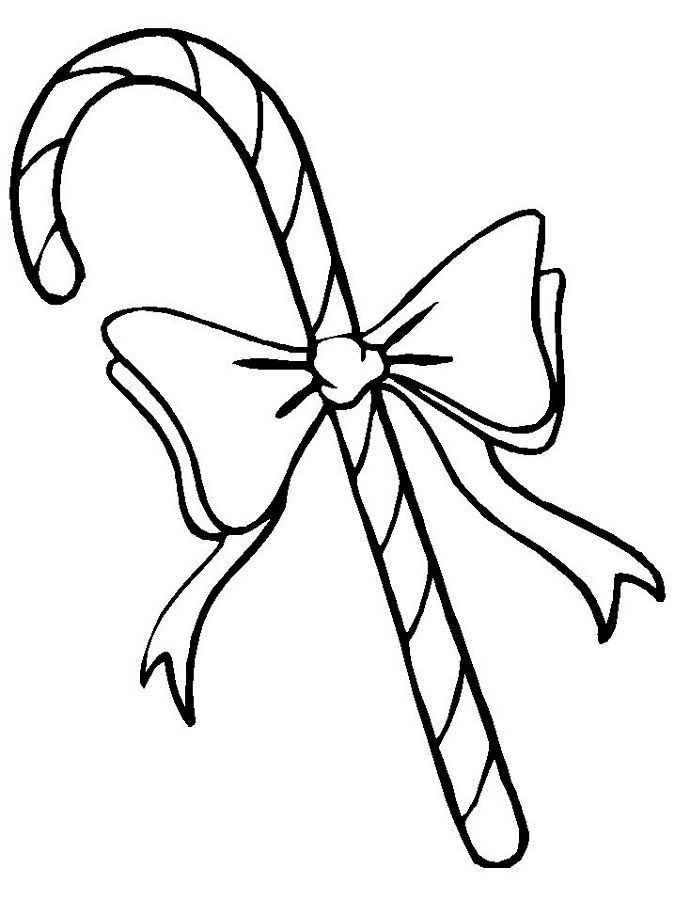 Candy Cane Coloring Pages With Bow