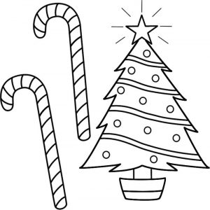 Candy canes for the tree coloring pages