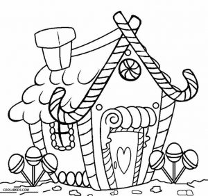 Candycane gingerbread house coloring page