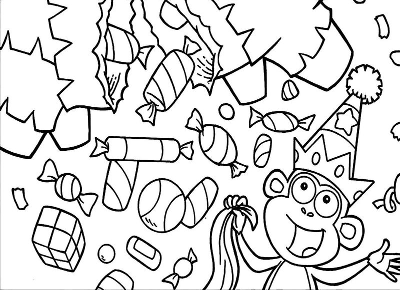 Candyland Coloring Pages With A Monkey