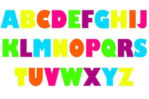Capital alphabet letters colored 001