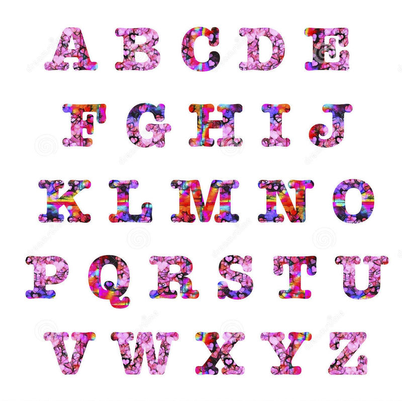 Capital Letters Alphabet Pink Red