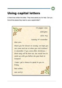 Capital letters worksheet printable