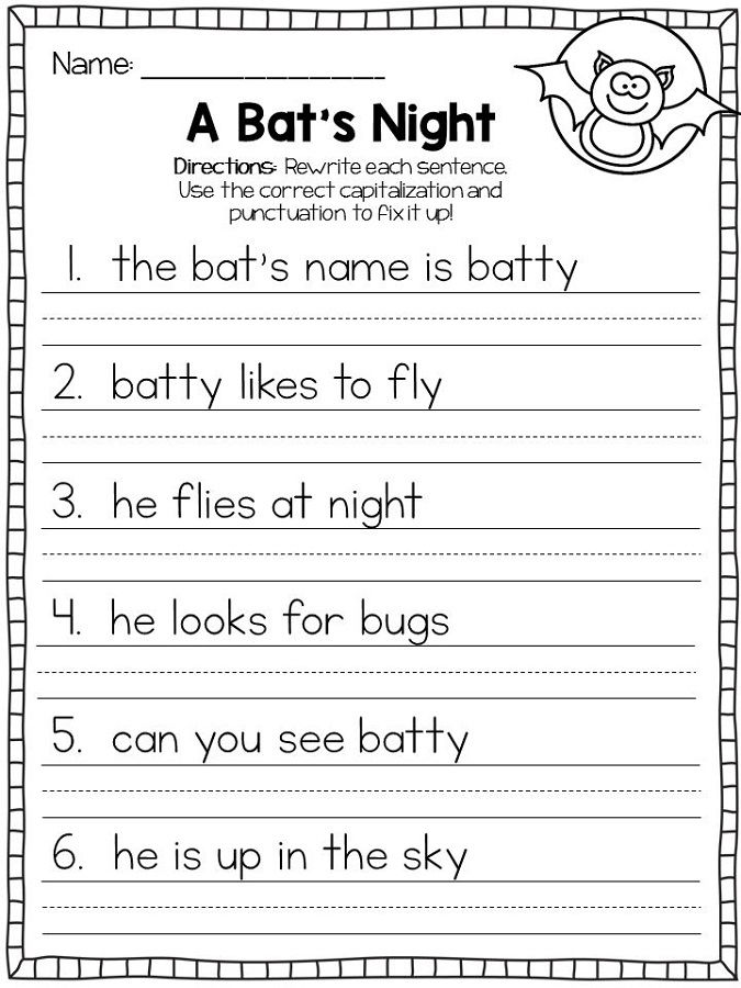 Capital Letters Worksheets First Grade