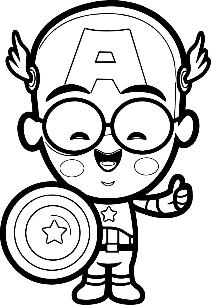 Captain Chibi Smile Coloring Page