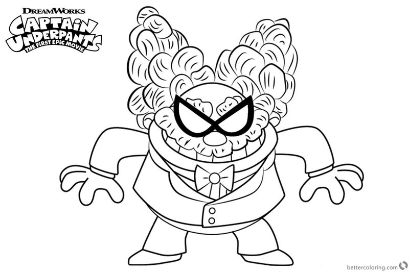 Captain Underpants Movie Coloring Page Professor Poopypants