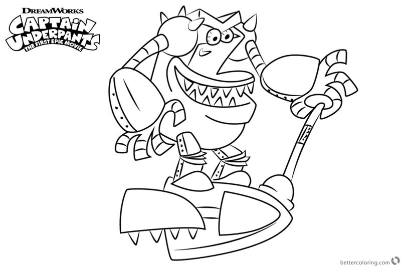 Captain Underpants Movie Turbo Toilet Coloring Page