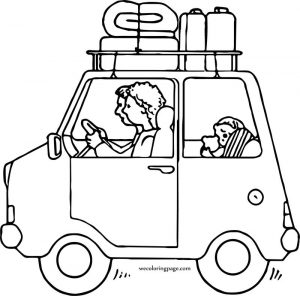 Car travel family coloring page