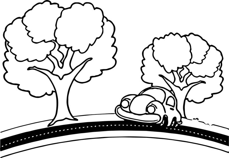 Car Tree Road Coloring Page