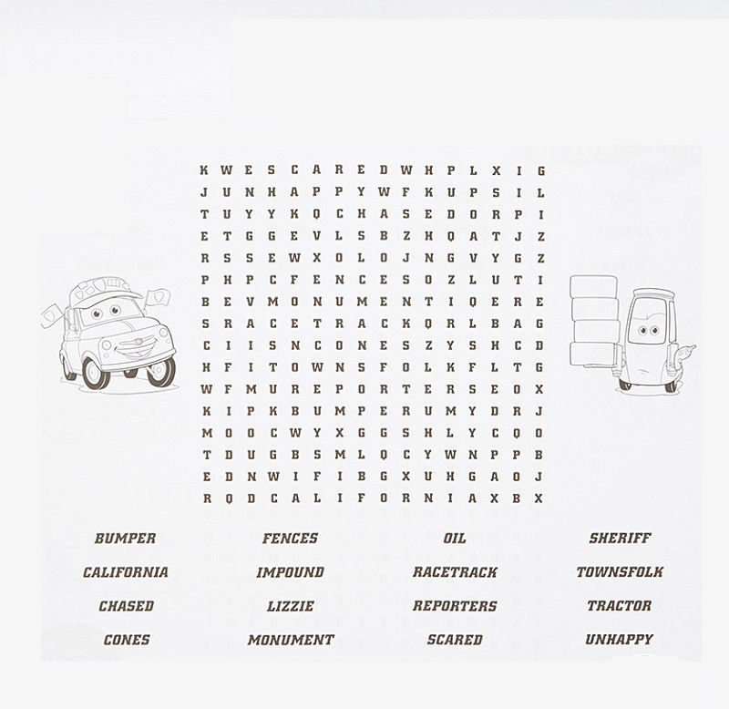Car Word Search For Kids